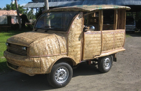 ... comes to the Philippines: coconut oil-fueled bamboo taxi thumbnail