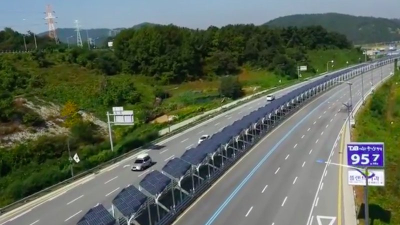 This is one odd solar bike lane in the middle of a Korean highway thumbnail