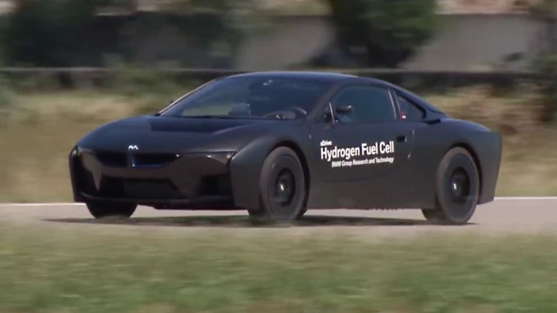 Pure black BMW i8 hydrogen fuel cell prototype on the track thumbnail