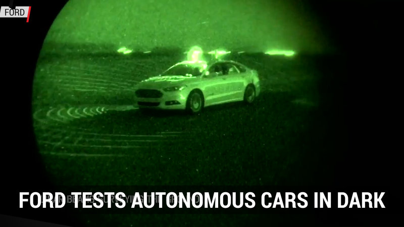Ford tests autonomous cars in dark | Autoblog Minute thumbnail