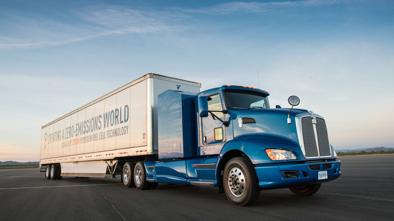 Watch Toyota's Project Portal hydrogen fuel cell truck drag race a diesel semi thumbnail